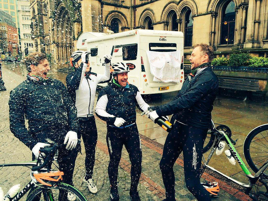 Champagne in Albert Square - WE'VE ONLY GONE AND DONE IT! London to Manchester in 24 hours!! @Hopeforjustice http://t.co/ZDDcZwErZj