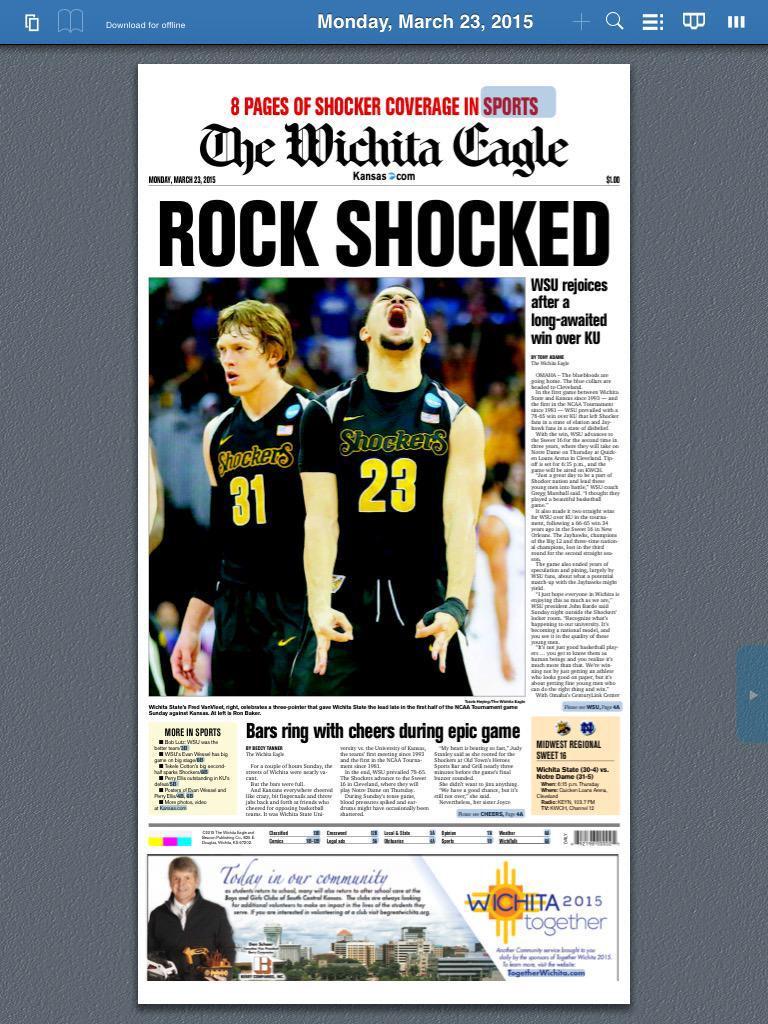 Wichita Eagle front page for Kansas/Wichita State. http://t.co/rzIKVx79A7
