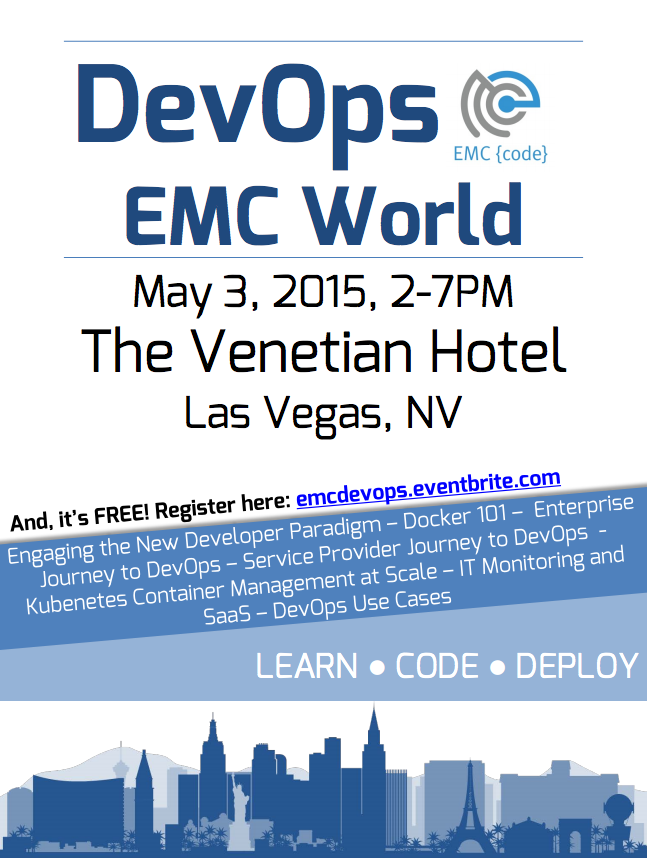 Are you coming to @EMCworld? Don't forget to sign up for the free DevOps Day! http://t.co/Wx9zyRPWBa http://t.co/GkRhjYlHPY