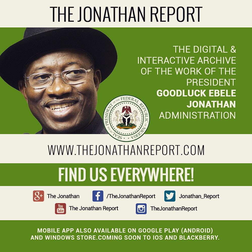 Follow The Jonathan Report on all major social media platforms and engage the work of your govt @audu @ngrcommtech rt http://t.co/RCnhjdZ5K3