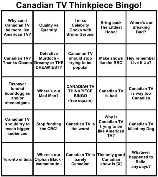 Rather then get mad at every silly thinkpiece on Canadian TV, I'll just keep track with this from now on… http://t.co/H7hWpElI0s