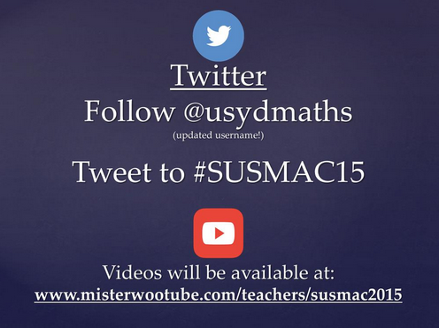 Excited to present at the SydneyUni Maths Conference @usydmaths tomorrow @JudyAnderson6 @misterwootube! #SUSMAC2015 http://t.co/KQaXsII2Ea