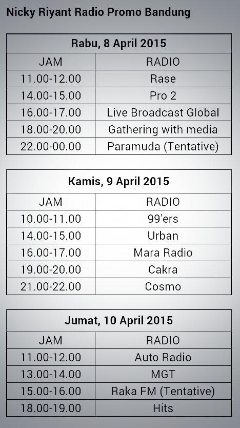 Dear @sNICKers_Family berikut schedule promo radio @NickRiyant di bandung.Ayo dilihat, mana yg dkt rmh. @SonyMusicID http://t.co/qARoMZrskM
