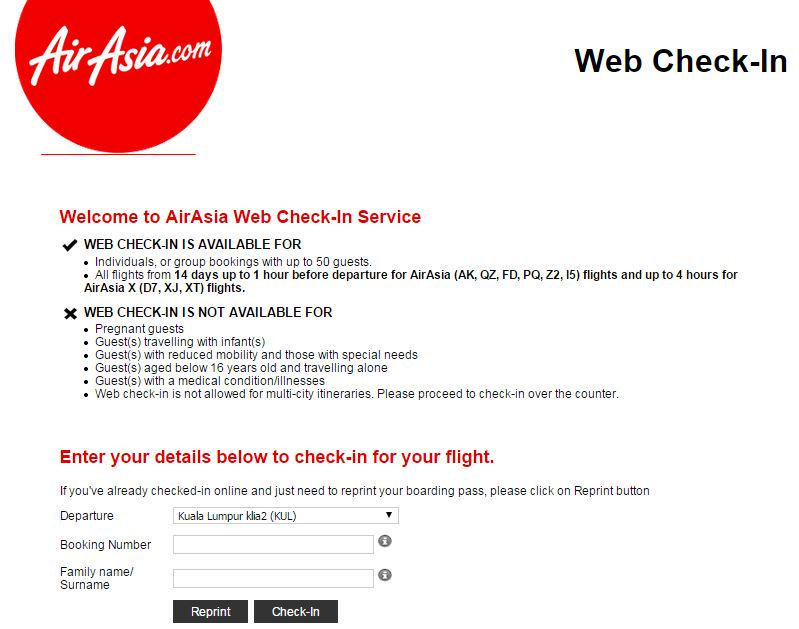 Air asia web check in