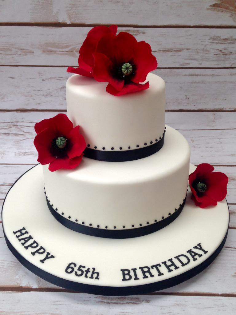 Elegant 65th Birthday Cake Handmade Wired Sugar Flowers BAKO NW PrettyWittyCake Poppies Cakepictwitter FaZ3sIqzsQ