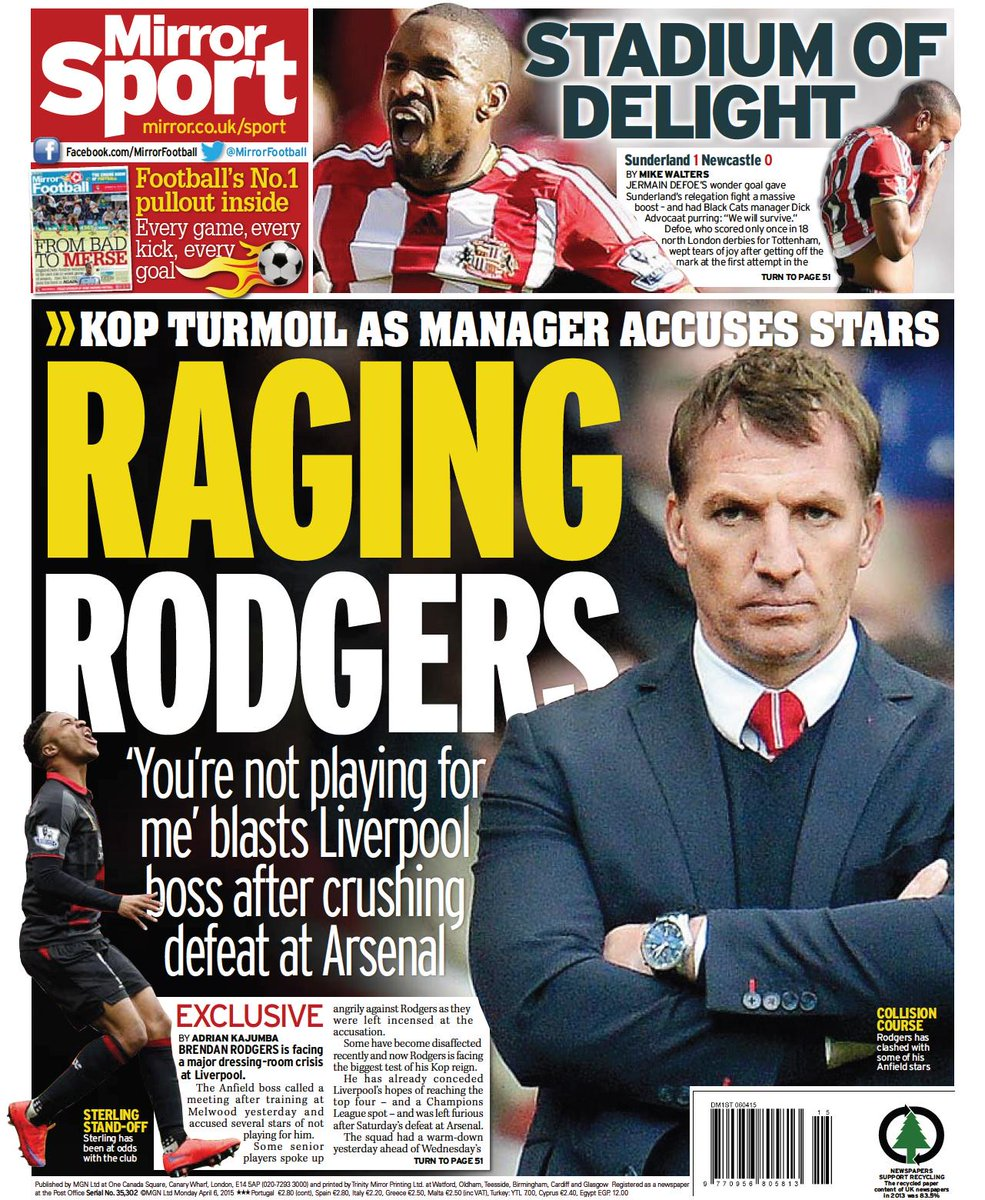 Brendan rodgers accused his liverpool players of not for Mirror liverpool