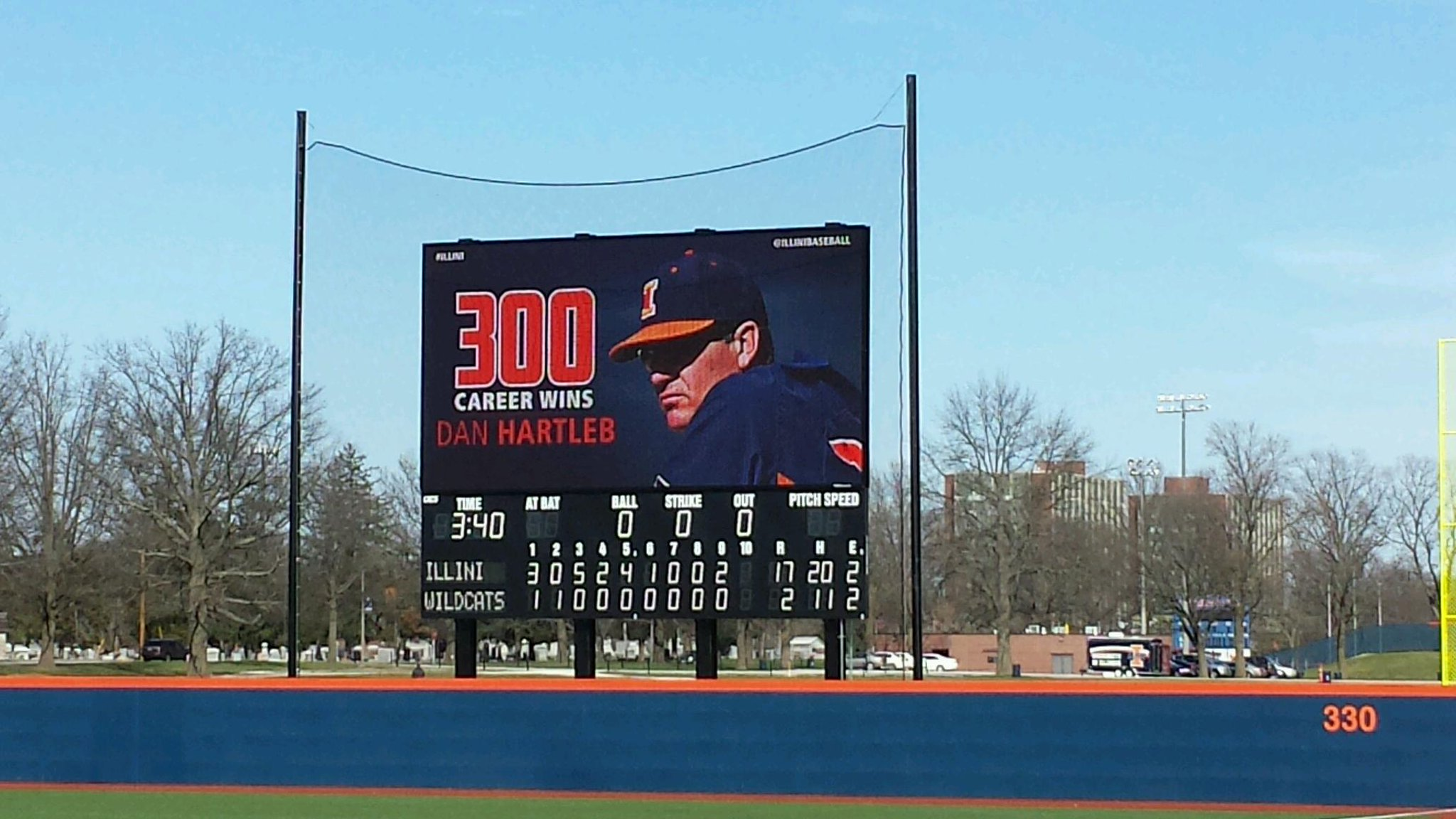Baseball scoreboard at University of Illinois