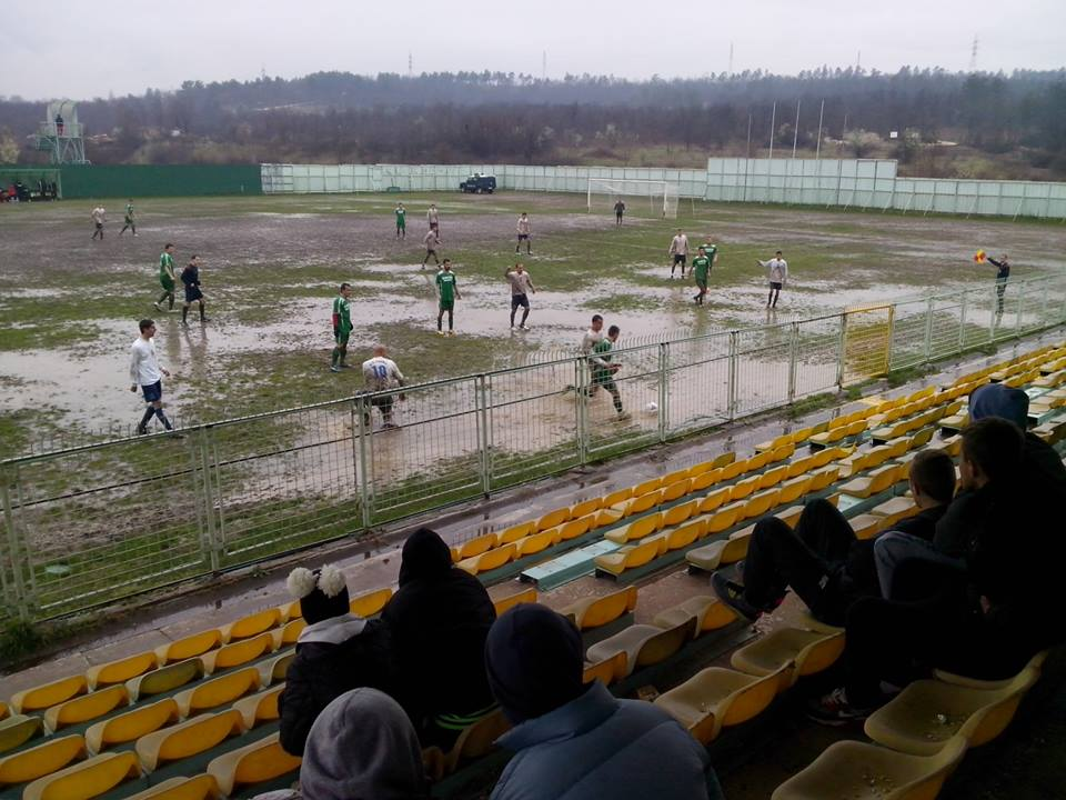 The pitch at the Skopje vs. Mladost game