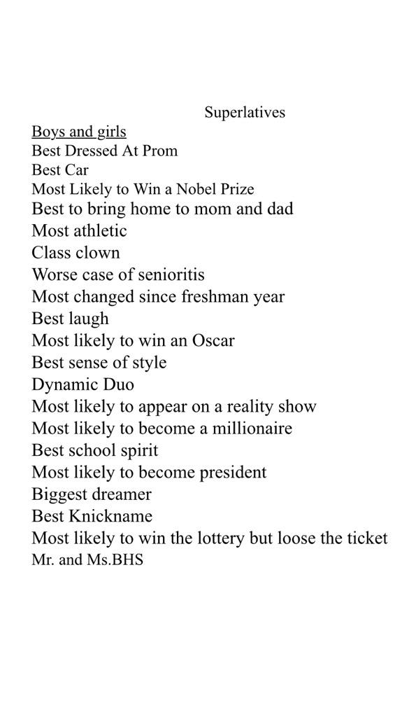 bhsseniorclassof2015 on twitter here is a list of the superlatives