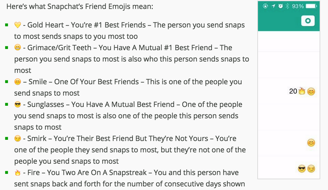 A Guide To What Each Snapchat Friend Emoji Means Scoopnest