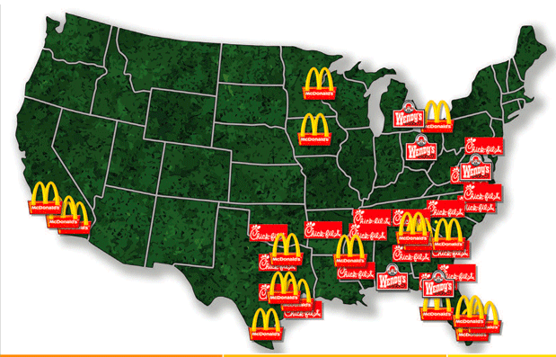 A map of u.s. hospitals with a mcdonald\'s or wendy\'s via ...