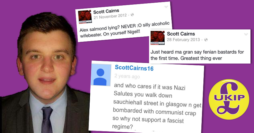 "RT @unsavourycabal: Coatbridge UKIP candidate: supports fascism, thinks Salmond is a ""silly alcoholic wifebeater"" http://t.co/EX6xFl0dEm ht…"