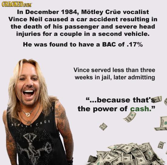 "Vince Neil Understand The ""power Of Cash."" 18 Horrifying"