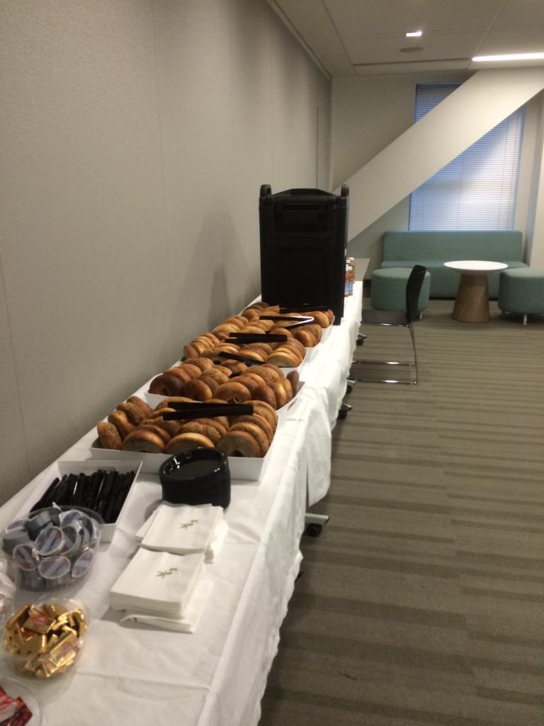 Per usual, I will include a survey of the spread: bagels & cc, coffee, juice. #BOSWERC http://t.co/vIg6r1HCfX