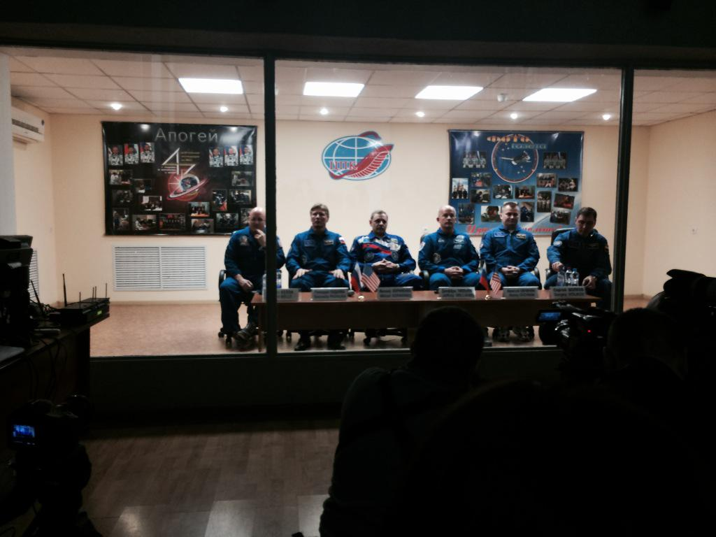 In Kazakhstan with @StationCDRKelly at press conference. Launch in 31 hours!  #StationCDRKelly http://t.co/br3hX20Pxh
