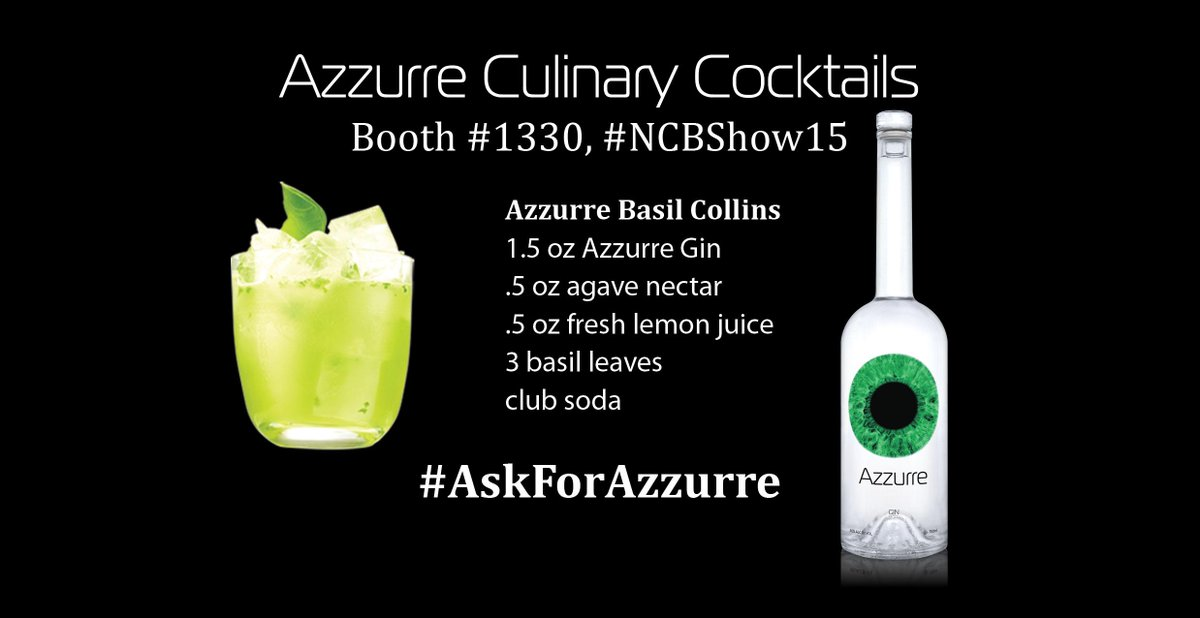 Need some cocktail inspiration? Check out @AzzurreSpirits Booth #1330 #NCBShow15! @NightclubBar #AskforAzzurre http://t.co/9mJY8Mx3Zk