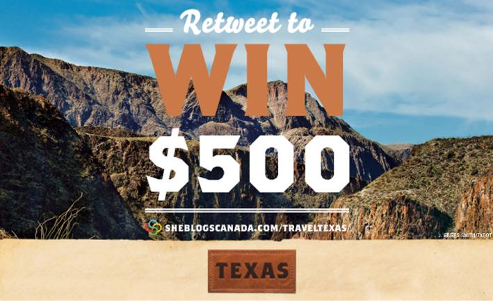 Retweet to win $500 and start exploring your trip ideas & possibilities today!  http://t.co/hMuZJGv21f #Travel2Texas http://t.co/UFGJJWGHsW
