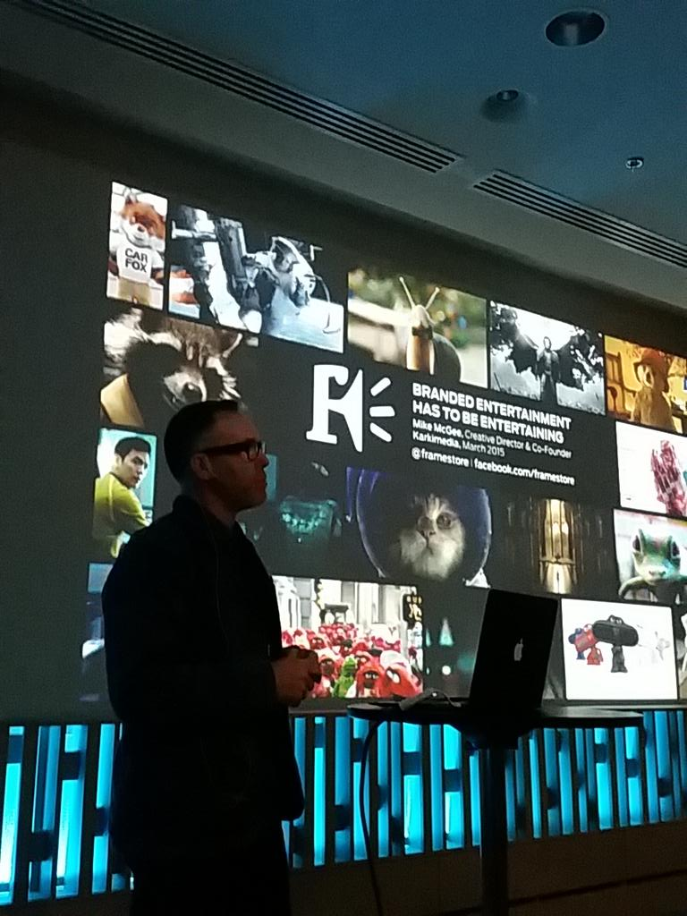 @Framestore 's Mike McGee on stage at Kärkimedia's GO pre-party! #grandone http://t.co/yLpWkTbb6Q