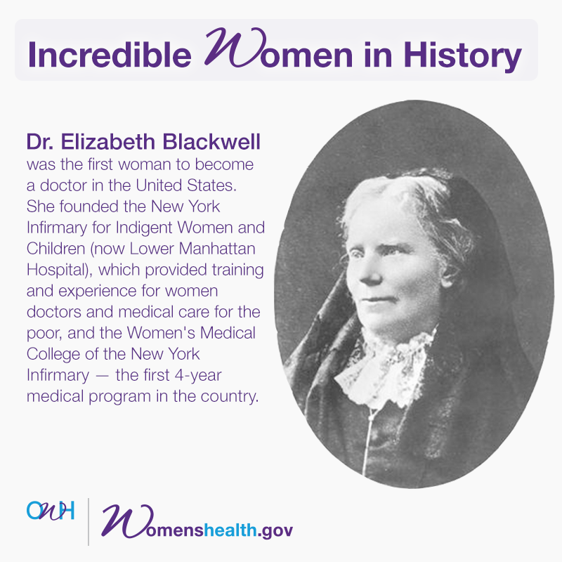 elizabeth blackwell first women doctor This is a portrait of english-born american doctor elizabeth blackwell (1821-1910), the first female physician in the united states, circa 1850.
