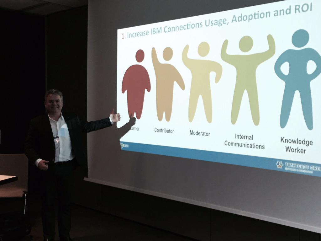 #IBMChampion @Felix_Binsack @TIMETOACTGROUP shows how to increase ROI with #IBMConnections #icsug http://t.co/k0kCHaT9J6