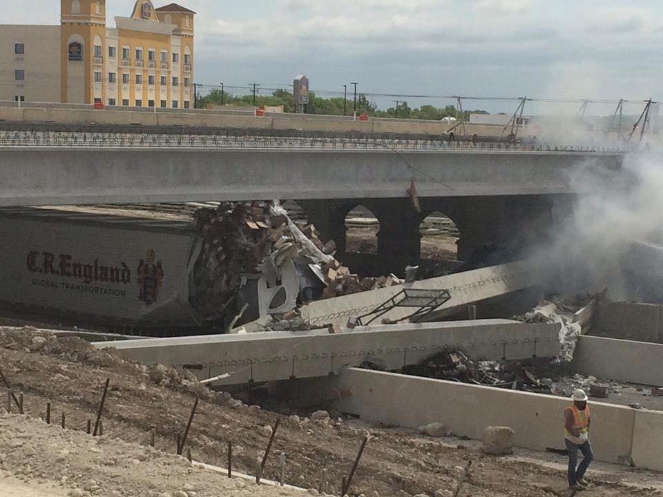bridge damaged by semi on I35 - photo by KWTX News 10