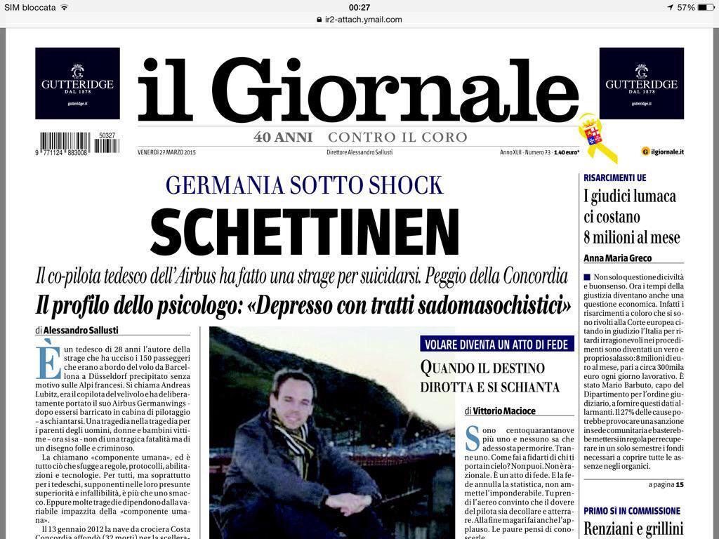 la prima pagina de Il Giornale