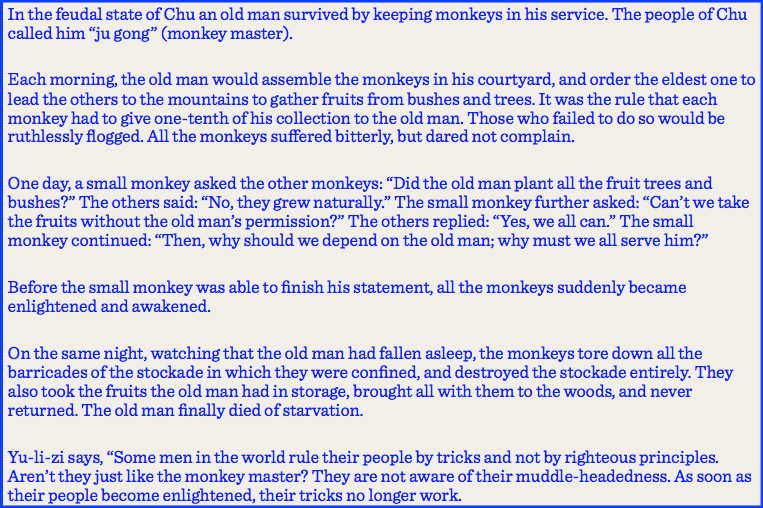 Gene Sharp On Twitter The Monkey Master Fable From Chapter 3 Of