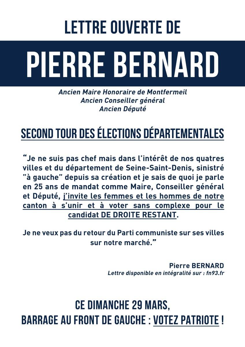Pierre Bernard, ancien Député/Maire de Montfermeil appelle à voter 'pour le candidat de droite' face au FdG. Merci !