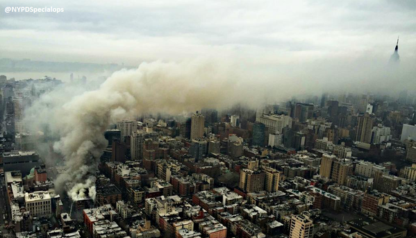 #EastVillage Explosion: Aerial image smoke billowing over Manhattan (Photo - @NYPDSpecialops) http://t.co/Z2MgTZhS84