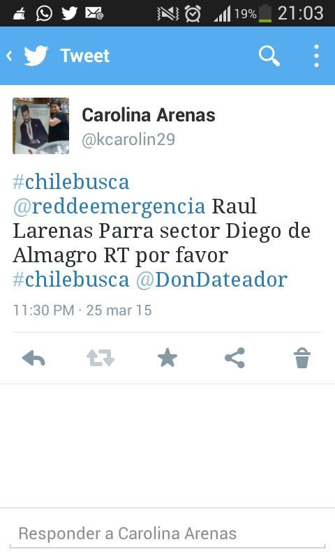 #Chilebusca Gracias a todos por sus RT ya lo encontramos @tvn @reddeemergencia @DonDateador @HECTORVALLEJOS @biobio http://t.co/mb0fHufdJF