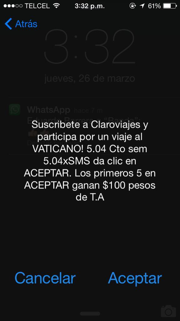 Esto debería estar prohibido @Telcel hasta por error la gente podría dar aceptar. http://t.co/ZcPQDWKfqf