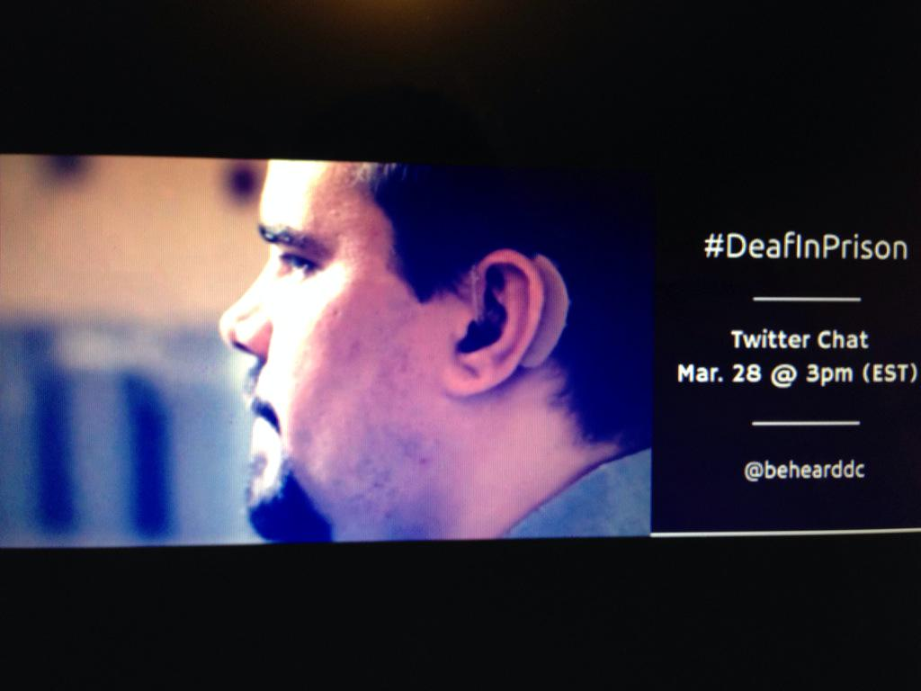 My Saturday (March 28) will be all about the Twitter chat with @behearddc about #Access #DeafInPrison and more http://t.co/eg9hQFuuEB