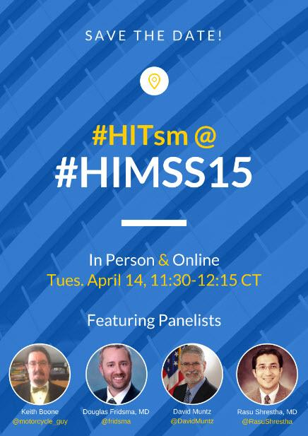 Reminder! We'll have a #HITsm session during #HIMSS15 Tues April 14 11:30-12:30, Check out the great lineup! http://t.co/0XmP3JJOKG