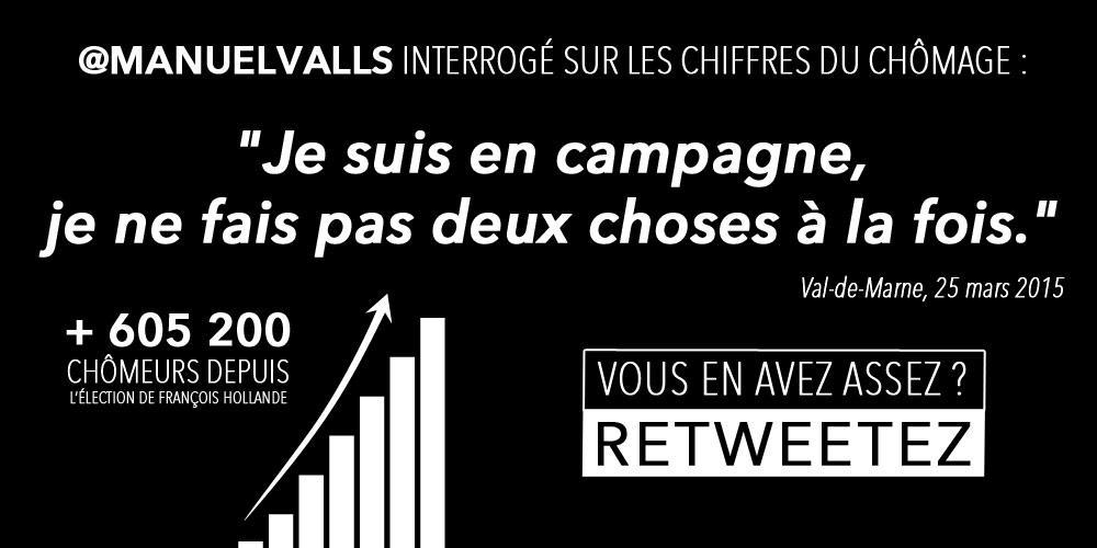 """.@manuelvalls interrogé sur les chiffres du #chômage : """"Je suis en campagne, je ne fais pas 2 choses à la fois."""" http://t.co/GVhGw0E1cp"""