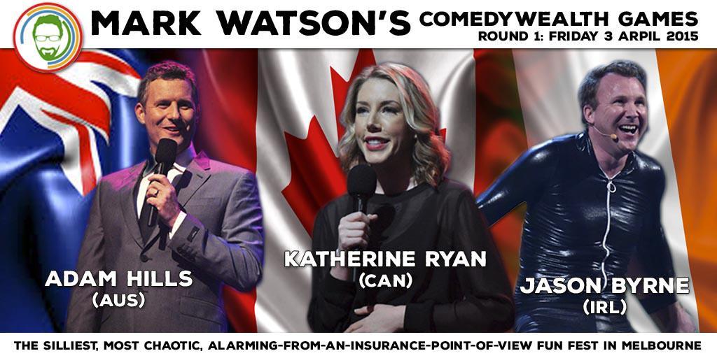 RT @micomfestival: Rd1 of @watsoncomedian's Comedywealth Games ft. @adamhillscomedy, @Kathbum & @thejasonbyrne http://t.co/o701hdA0e7 http:…