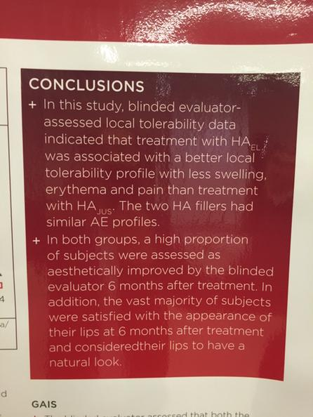 AMWC2015 posters review  Emervel Lips vs Juvederm Ultra