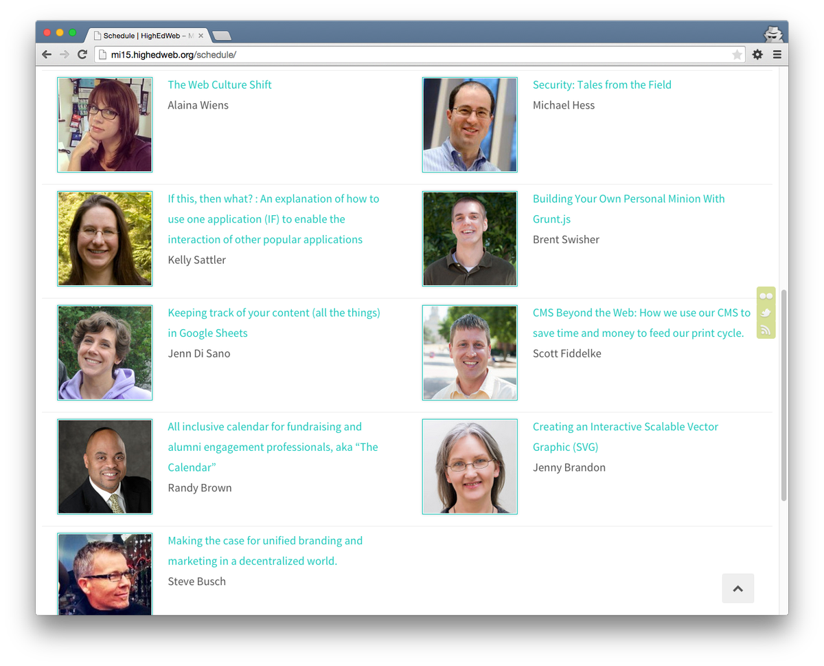 The @hewebMI speaker page is looking pretty! http://t.co/N4q97NiQtz #hewebMI #hesm #casesmc #highered #heweb #drupal http://t.co/1zSZcn6k4m