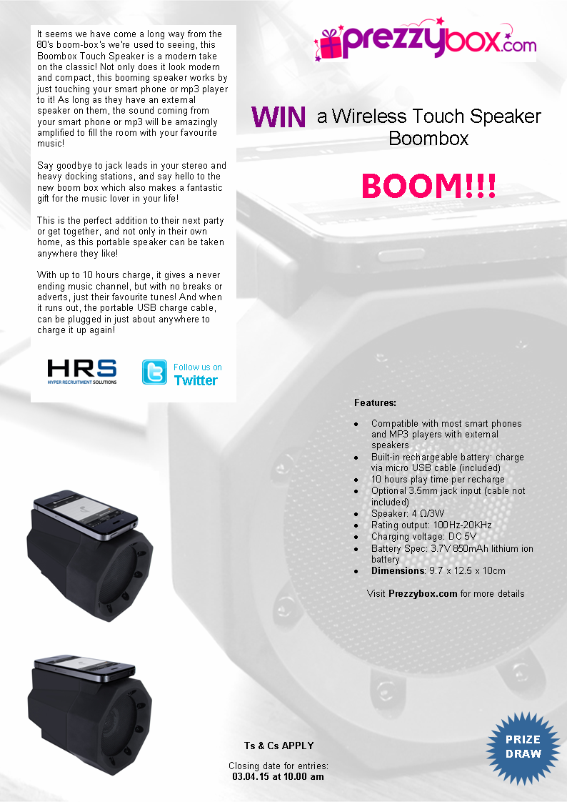 RT @Hyperec_HRS: #Fridayfreebie #competition #WIN a #Wireless Touch #Speaker  courtesy of @Prezzybox RT & follow @Hyperec_HRS #gadgets http…