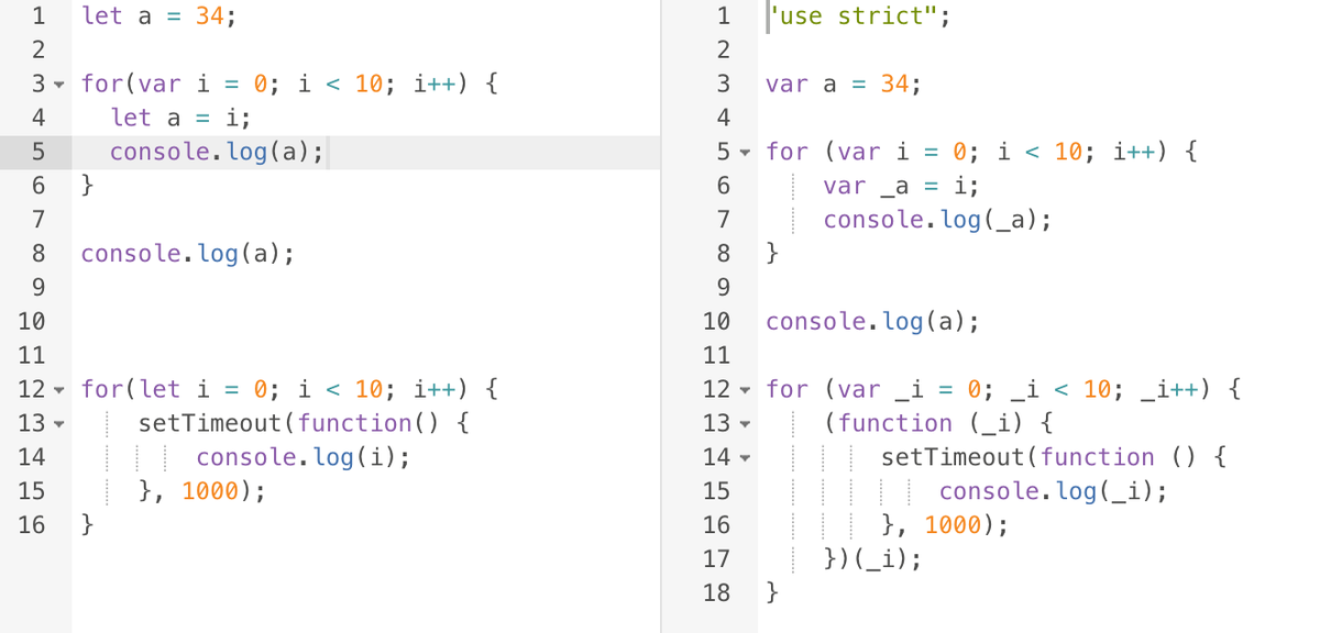 impressed how @babeljs figures out when it needs a fn wrapper for `let` values, vs when a name change will suffice. http://t.co/nVdCIY15XS