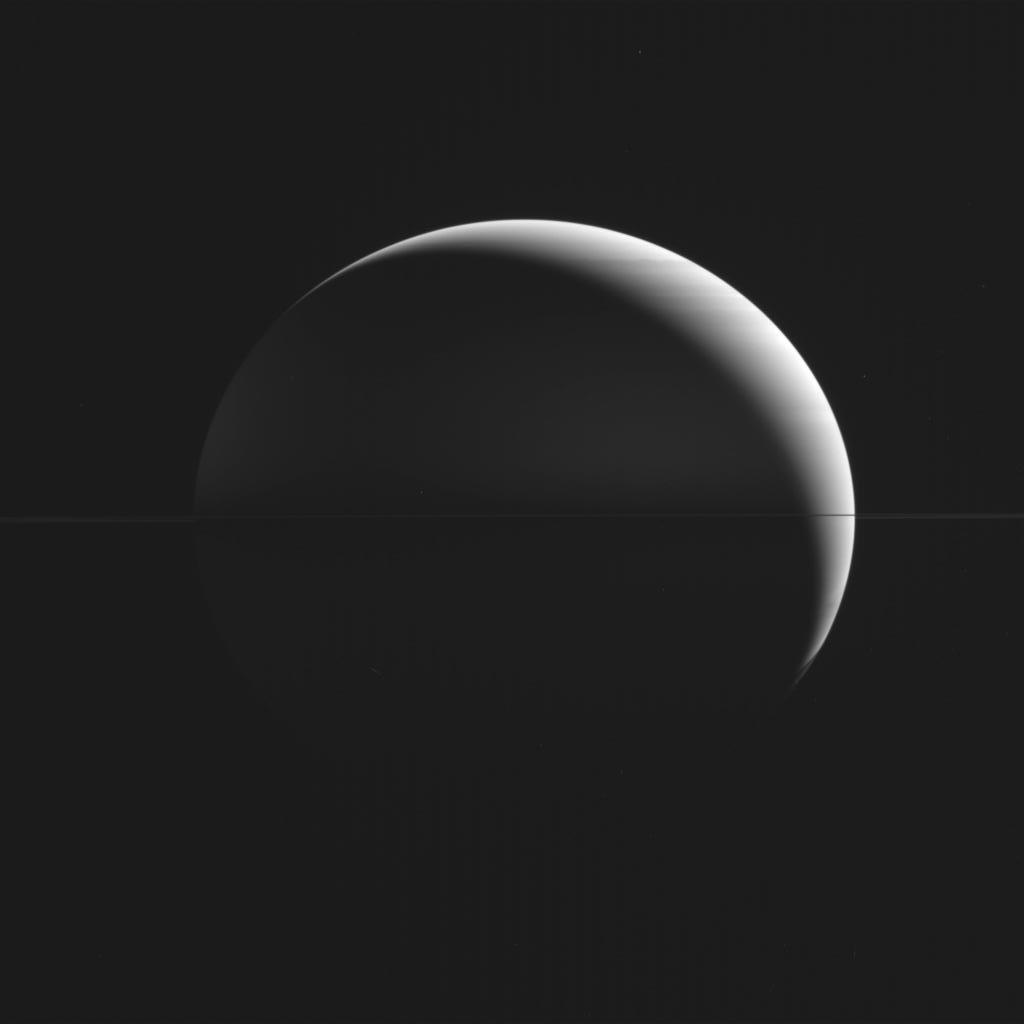 Your daily dose of awe: Cassini has a new, equatorial Saturn view. Huge ring system collapsed to a thin line. Mar 24. http://t.co/99XZEs0qoK
