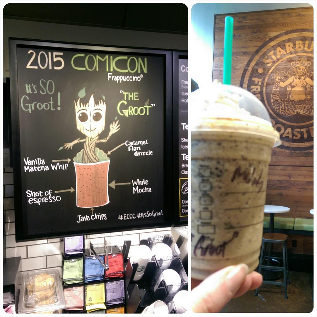 Who wouldn't want to start their day with a Groot #Frappuccino???!!! #eccc #Itssogroot #ComicCon2015 #Starbucks http://t.co/dIS6KY6MsK