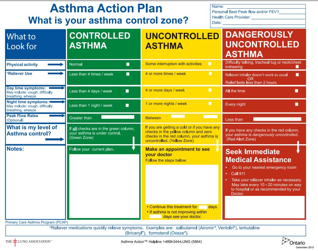 asthma action plan pdf australia