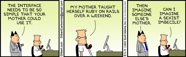 Support #WomenInTech! Courtesy of @Dilbert_Daily #RubyOnRails http://t.co/VTn9piA509