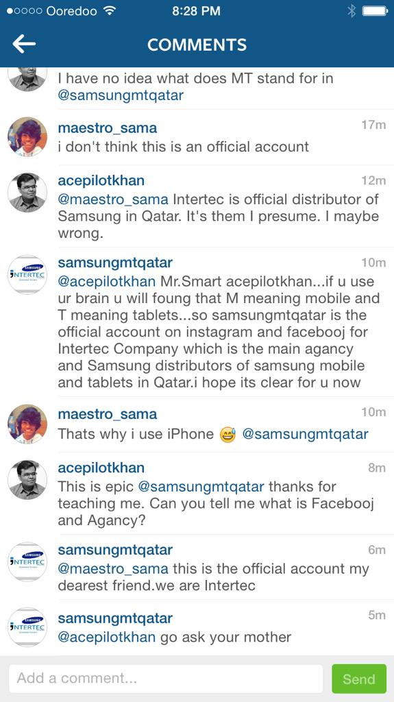 Wow. Shocked to see the official @SamsungMobileME account in #Qatar on Instagram reply like this. Uncool! #Fail http://t.co/SZ0JQWoaDr