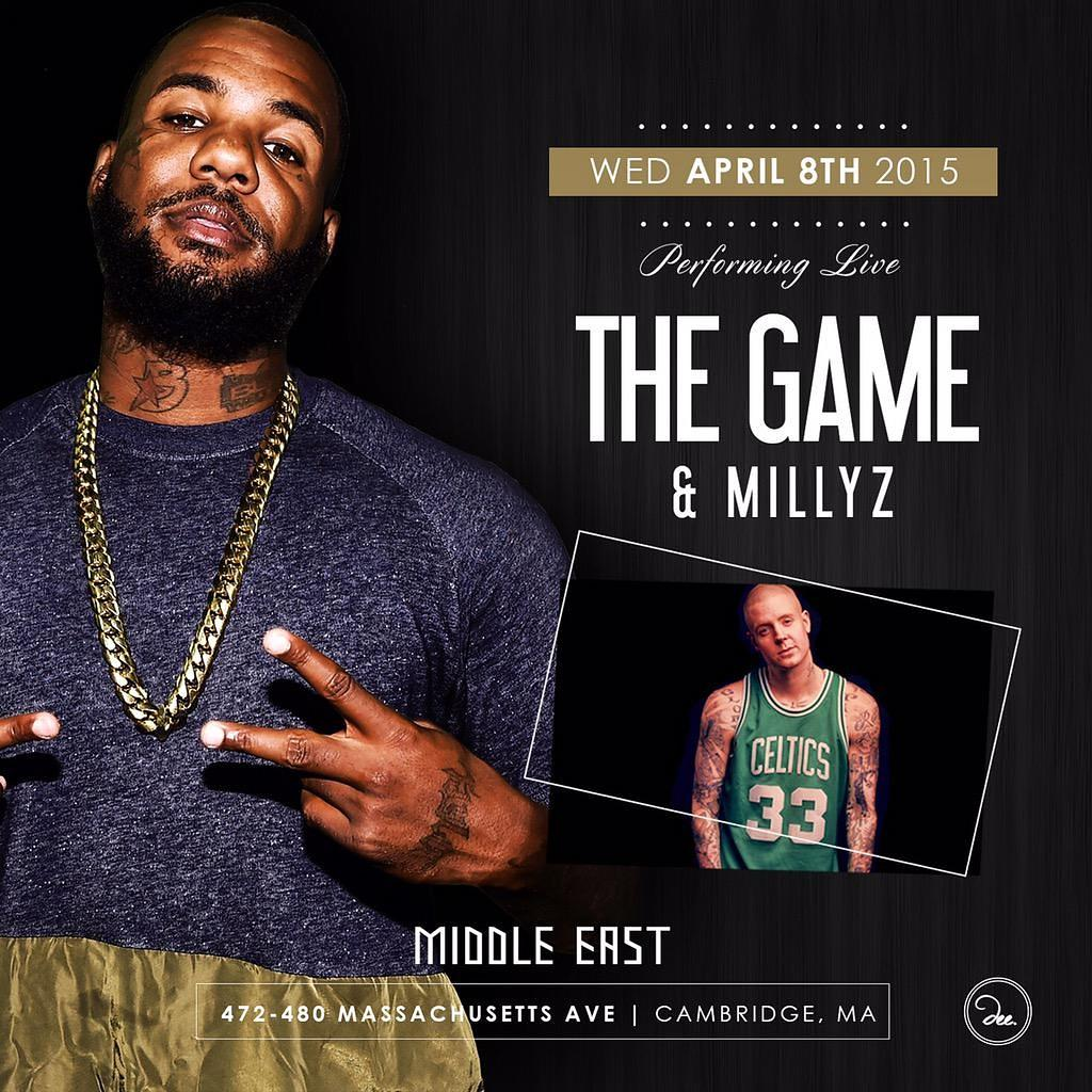 Catch me spinning for @MILLYZ as he opens for @thegame 4/8 at Middle East http://t.co/iB0EdMXUOI