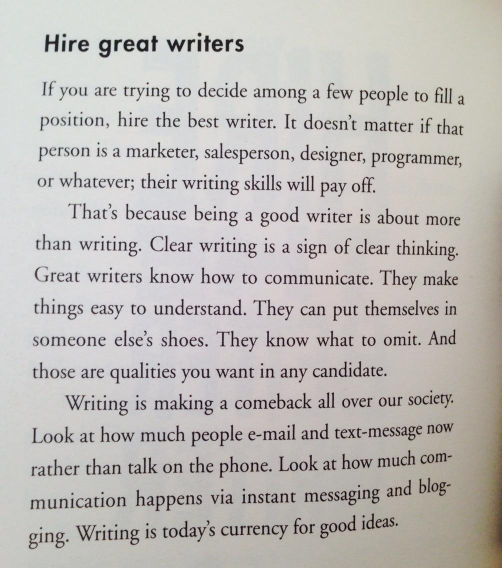 "Wise advice for those looking to hire... ""clear writing is a sign of clear thinking."" #PublicRelations http://t.co/UIcpau1azc"