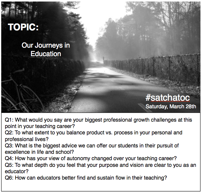 Join us in 10 mins Our Journeys in Education #satchatoc. http://t.co/5QWMbDxpPc