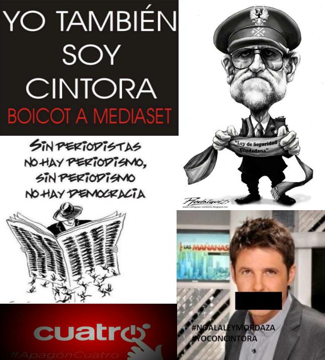 #JeSuisCintora Aquí NI hay LIBERTAD de EXPRESIÓN, NI de MANIFESTACIÓN  NO es VENEZUELA es ESPAÑISTÁN #BoicotAMediaset http://t.co/c0Cmq07pZ3