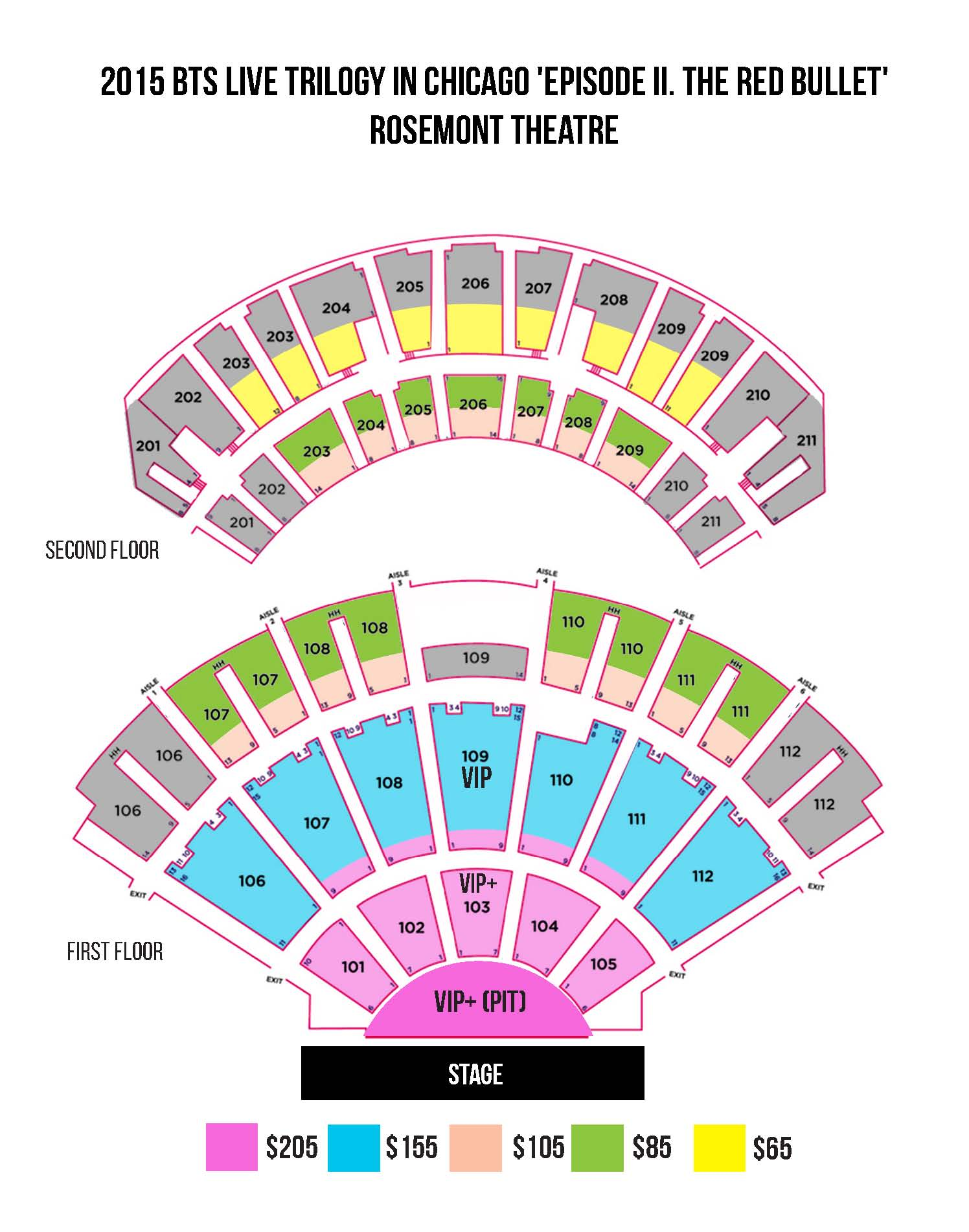 INFO  BTS LIVE TRILOGY EPISODE II THE RED BULLET In USA - Chicago map rosemont