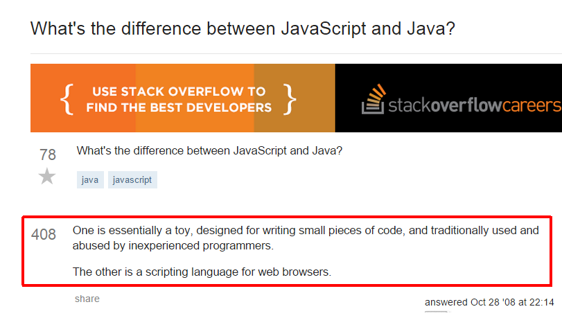 StackOverflow: What's the difference between Javascript and Java? http://t.co/LD0ekAhH1C